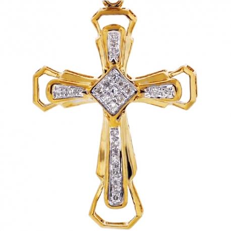 """Mens Diamond Framed Cross Pendant 10K Yellow Gold .19ct 1.75"""""""