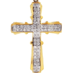 Mens Diamond Pave Cross Religious Pendant 10K Yellow Gold 0.51ct