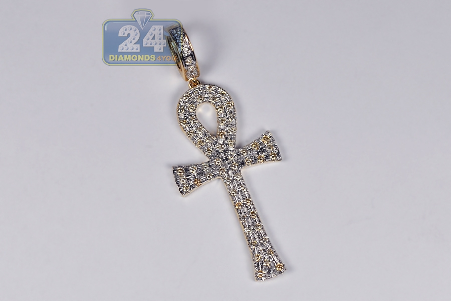 Mens diamond key life ankh cross pendant 10k yellow gold 112 ct mozeypictures Image collections