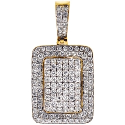 Mens Diamond Dog Tag ID Style Pendant 10K Yellow Gold 0.84ct