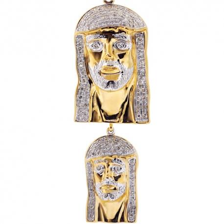 Mens Diamond Jesus Christ Double Pendant 10K Yellow Gold 0.60ct