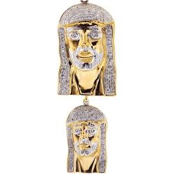 10K Yellow Gold 0.60 ct Diamond Jesus Christ Double Pendant
