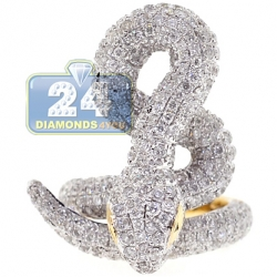 14K Yellow Gold 5.07 ct Diamond Snake Womens Coil Ring