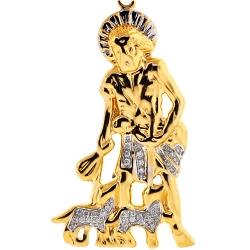 Mens Diamond Saint Lazarus Pendant 10K Yellow Gold 0.14 ct