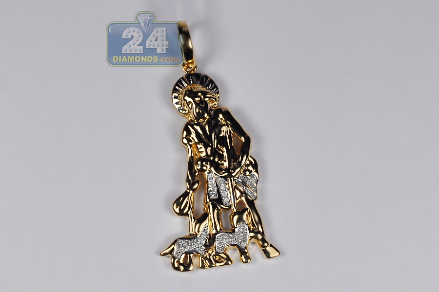 e38b23c187c Mens Diamond Saint Lazarus Pendant 10K Yellow Gold 0.14 ct