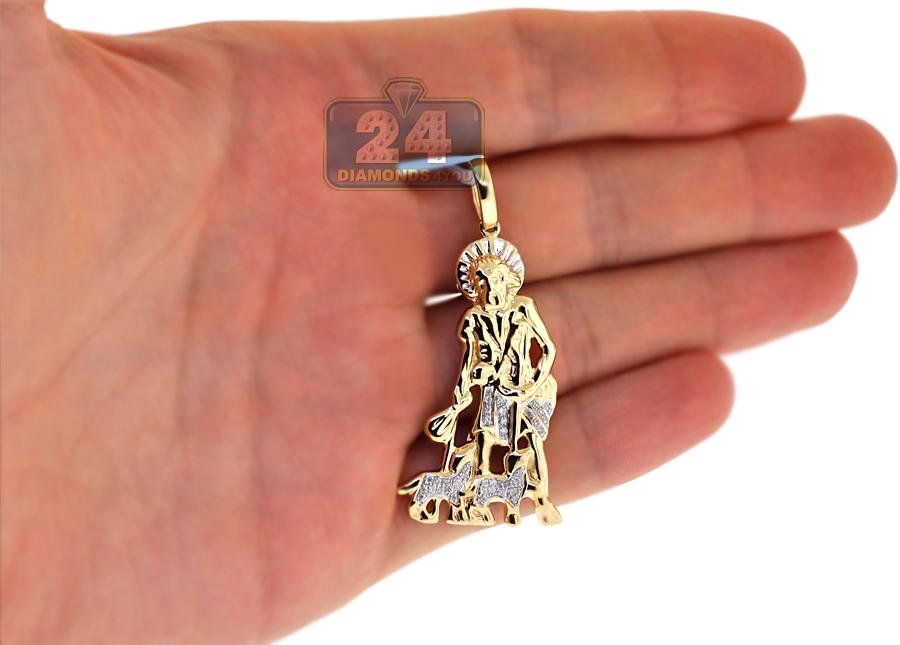 890d4a3de22f Mens Diamond Saint Lazarus Pendant 10K Yellow Gold 0.14 ct
