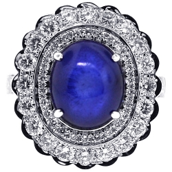 18K White Gold 9.58 ct Cabochon Sapphire Diamond Flower Ring