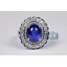 18K White Gold 9.58 ct Cabochon Blue Sapphire Diamond Ring