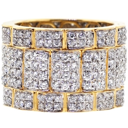 14K Yellow Gold 3.70 ct Diamond Mens Eternity Ring 16 mm