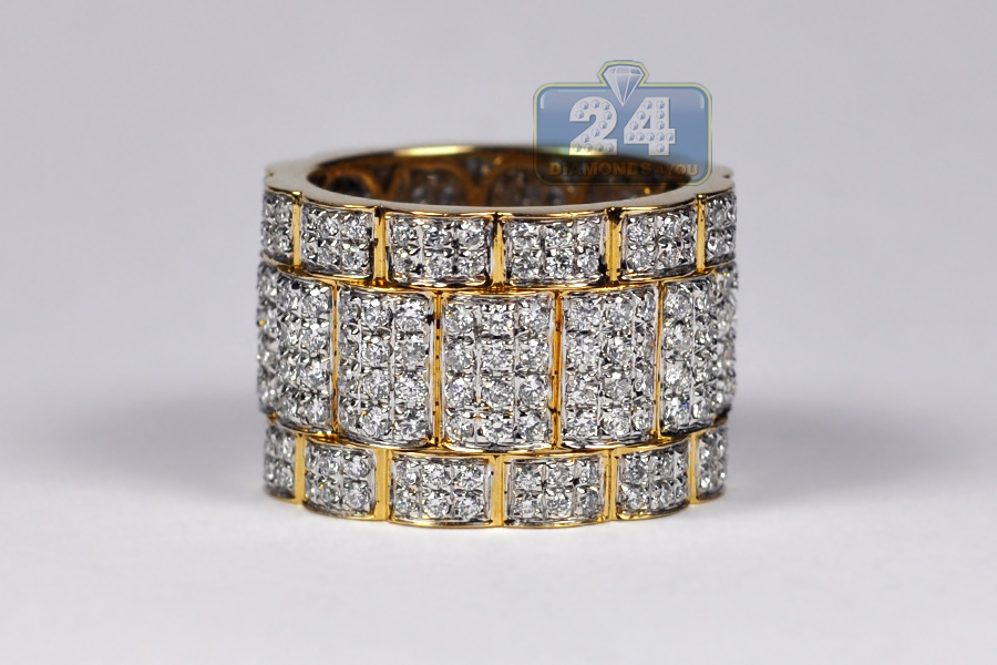 Mens All Way Diamond Wide Eternity Band Ring 14k Yellow Gold