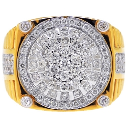 14K Yellow Gold 2.08 ct Diamond Cluster Mens Step Ring