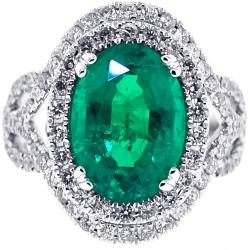 18K White Gold 6.98 ct Oval Emerald Diamond Womens Ring