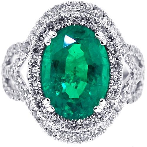 Womens Oval Emerald Diamond Gemstone Ring 18K White Gold 6.98 ct a0cf3e18f