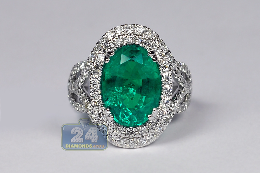 Womens Oval Emerald Diamond Gemstone Ring 18k White Gold 6