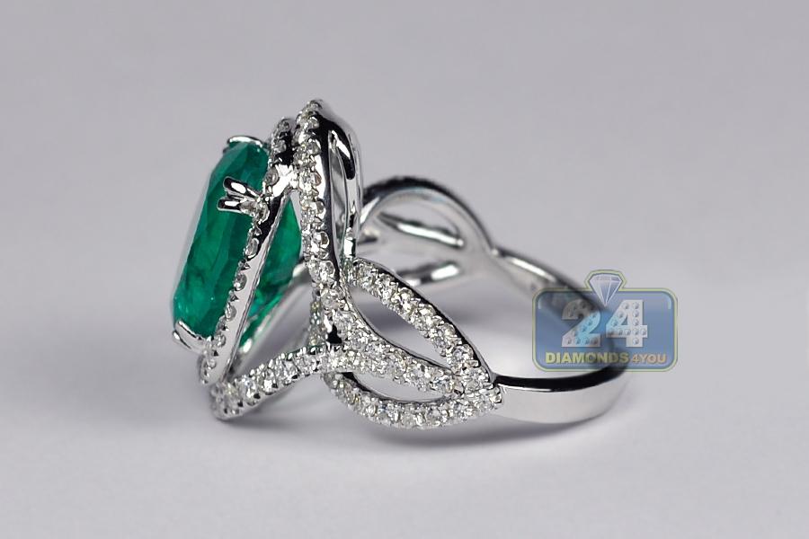 Womens Oval Emerald Diamond Gemstone Ring 18k White Gold 6