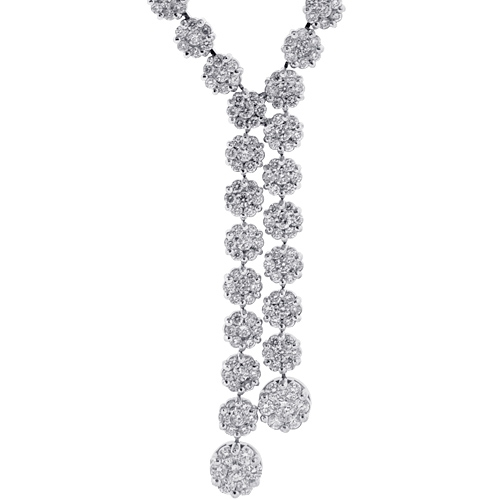 9d6a70303a3730 Womens Diamond Lariat Drop Necklace 18K White Gold 4.65ct 17.5