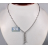 Womens Diamond Lariat Drop Necklace 18K White Gold 4.65ct 17.5""