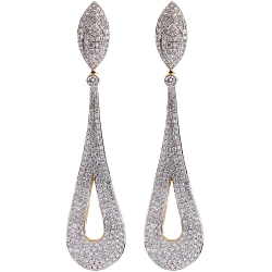 14k Yellow Gold 5 75 Ct Diamond Womens Dangle Earrings