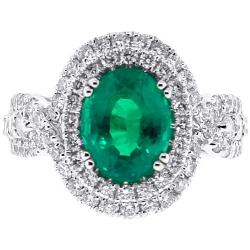 18K White Gold 4.45 ct Emerald Diamond Womens Halo Ring