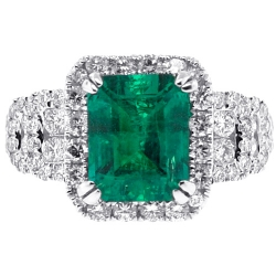 18K White Gold 4.44 ct Octagon Emerald Diamond Womens Ring