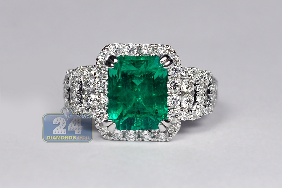 womens emerald gemstone ring 18k white gold 4 44 ct
