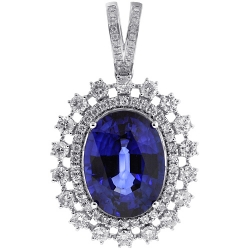 Womens Blue Sapphire Diamond Pendant Necklace 18K Gold 29.26 ct