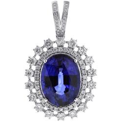18K White Gold 29.26 ct Blue Sapphire Diamond Pendant Necklace