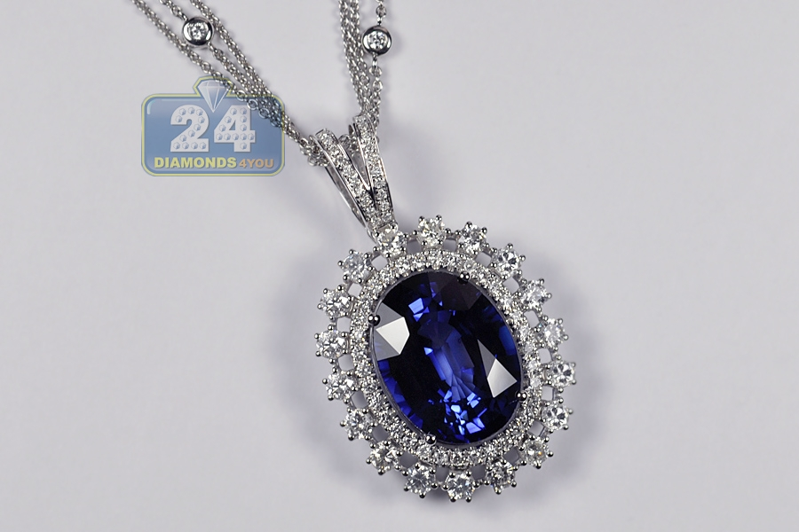 sapphire chain necklace pendant birthstone diamond gold drop and white september saphire on