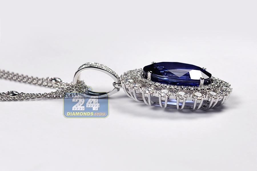 Womens blue sapphire diamond pendant necklace 18k gold 2926 ct aloadofball Image collections
