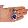 Womens Blue Sapphire Diamond Pendant Necklace 18K Gold 29.26 ct