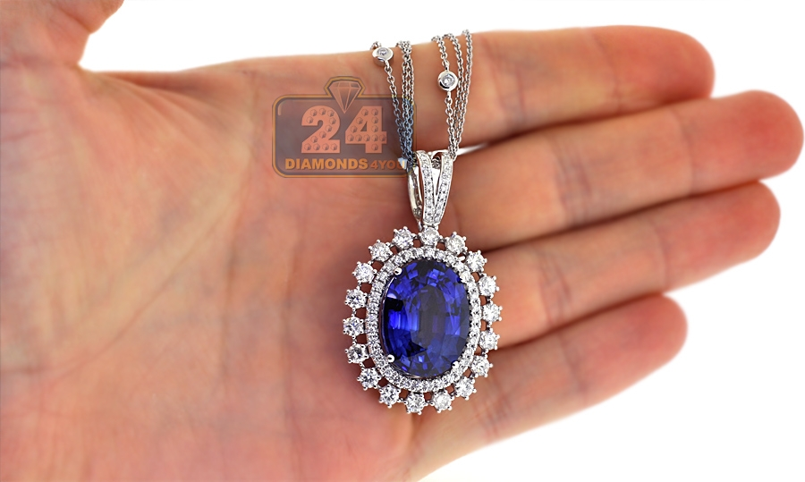 Womens blue sapphire diamond pendant necklace 18k gold 2926 ct aloadofball Image collections