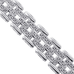 18K White Gold 2.20 ct Diamond Bicycle Link Mens Bracelet