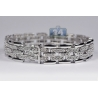 Mens Diamond Bicycle Link Bracelet 18K White Gold 2.20 ct 8.5""