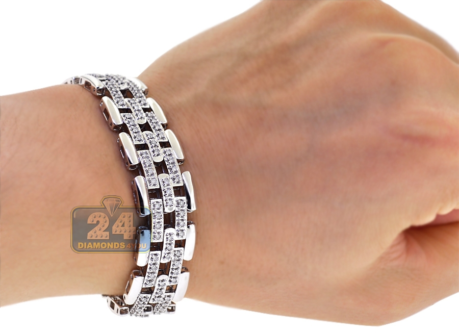 18k White Gold 2 20 Ct Diamond Bicycle Link Mens Bracelet