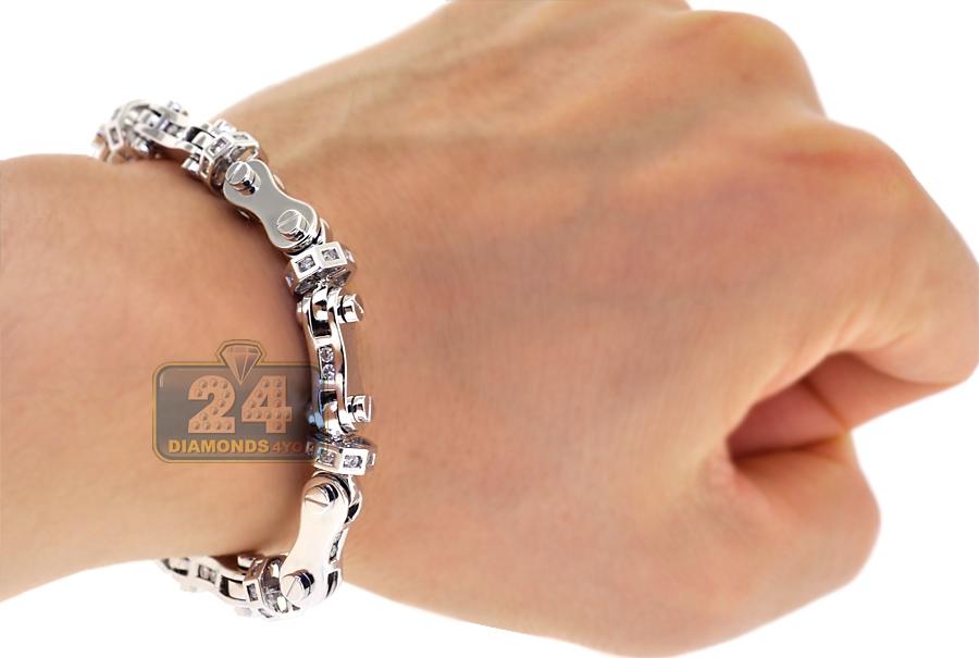 mens diamond bullet link bracelet 14k white gold ct. Black Bedroom Furniture Sets. Home Design Ideas