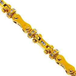 14K Yellow Gold 2.58 ct Diamond Bullet Link Mens Bracelet 8 mm