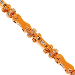 14K Rose Gold 2.60 ct Diamond Bullet Link Mens Bracelet 8 mm
