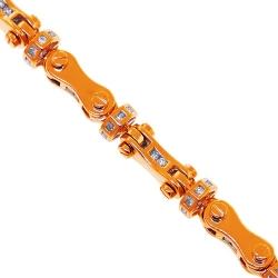 14K Rose Gold 2.60 ct Diamond Bullet Link Mens Bracelet 8 mm