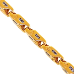 14K Yellow Gold 1.09 ct Diamond Bar Link Mens Bracelet