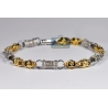 Mens Canary Diamond Bracelet 14K Two Tone Gold 4.46 ct 7mm 9""
