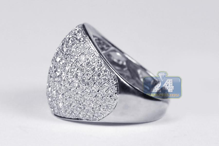 Womens Diamond Wide Wedding Ring Band 14k White Gold 3 01ct