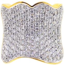 14K Yellow Gold 4.30 ct Diamond Womens Wide Wave Ring