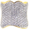 14K Yellow Gold 4.30 ct Diamond Womens Wide Wave Ring