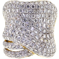 14K Yellow Gold 5.12 ct Diamond Womens Wide Ring