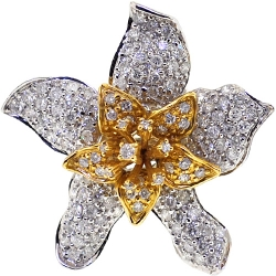14K Two Tone Gold 1.95 ct Diamond Lily Flower Ring