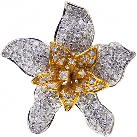 14K Two Tone Gold 1.95 ct Diamond Womens Lily Flower Ring