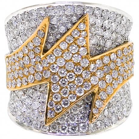 14K Two Tone Gold 3.24 ct Diamond Womens Zig Zag Ring