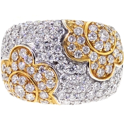 14K Two Tone Gold 3.10 ct Diamond Womens Flower Band Ring