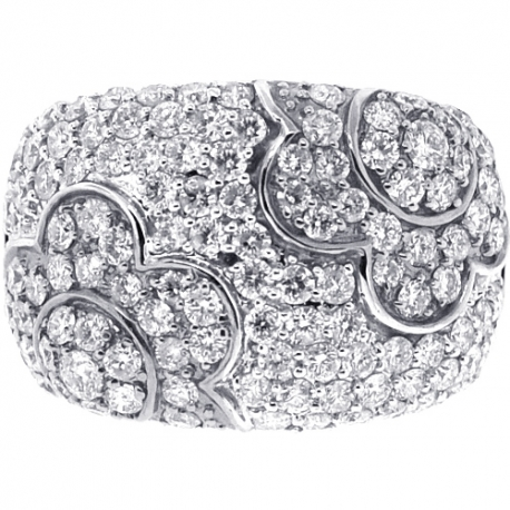 14K White Gold 3.12 ct Diamond Womens Flower Band Ring