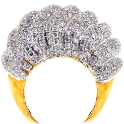 14K Yellow Gold 6.13 ct Diamond Womens Dome Ring